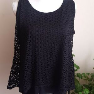 Style&Co. Black Layered Tank Top Blouse XL